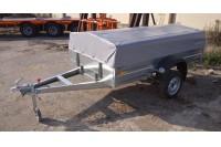 Прицеп с самосвальной функцией (модель 02С), с тентом и дугами низкий и опорным колесом