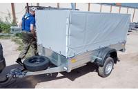 Прицеп с тентом и дугами высокий М, запасным колесом и опорным колесом