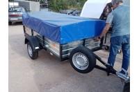 Прицеп с каркасом и тентом 0,7 м и запасным колесом с креплением на дышло